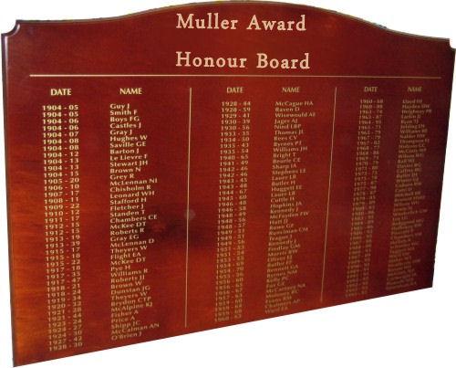 Muller Award Honour Board
